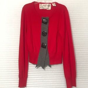 Anthropologie Fielel Flower red cardigan M